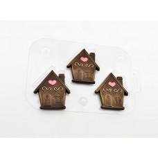 Пластиковая форма для шоколада Три домика (034)