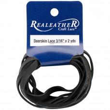 Шнур кожаный плоский Realeather Crafts Deerskin Lace, черный (DOS31602 1000)