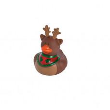 Резиновая уточка Рождественский олень с остролистом