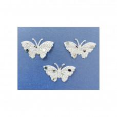 Аппликация пришивная Бабочка Only, белый с блестками, 3 шт (EM-00023)