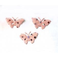 Аппликация пришивная Бабочка Only, бледно-розовый с блёстками, 3шт  (EM-00025)