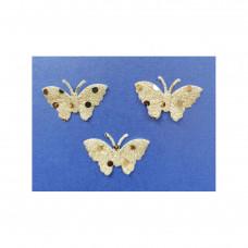Аппликация пришивная Бабочка Only, бледно-жёлтый с блёстками, 3 шт (EM-00032)