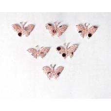 Аппликация пришивная Бабочка Only, бледно-розовый с блёстками, 6 шт (EM-00071)