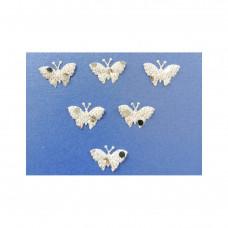 Аппликация пришивная Бабочка Only, бледно-жёлтый с блёстками, 6 шт (EM-00075)