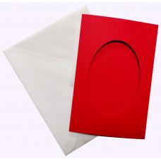 Заготовка для открытки Only Красная, овал малая (7086)